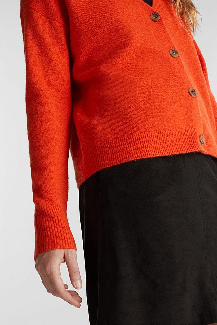Cardigan made of soft blended wool, RUST ORANGE, detail image number 2