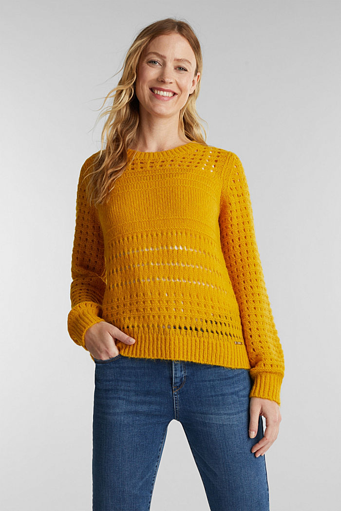 Jumper with alpaca, BRASS YELLOW, detail image number 0