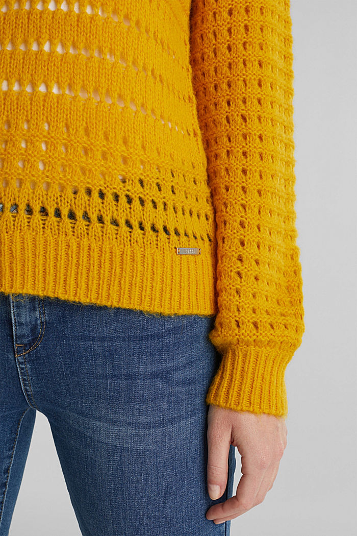 Jumper with alpaca, BRASS YELLOW, detail image number 4