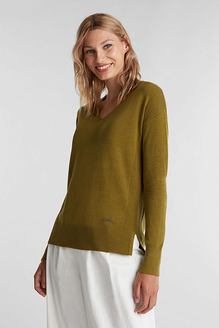 V-neck jumper containing organic cotton, OLIVE, detail image number 0