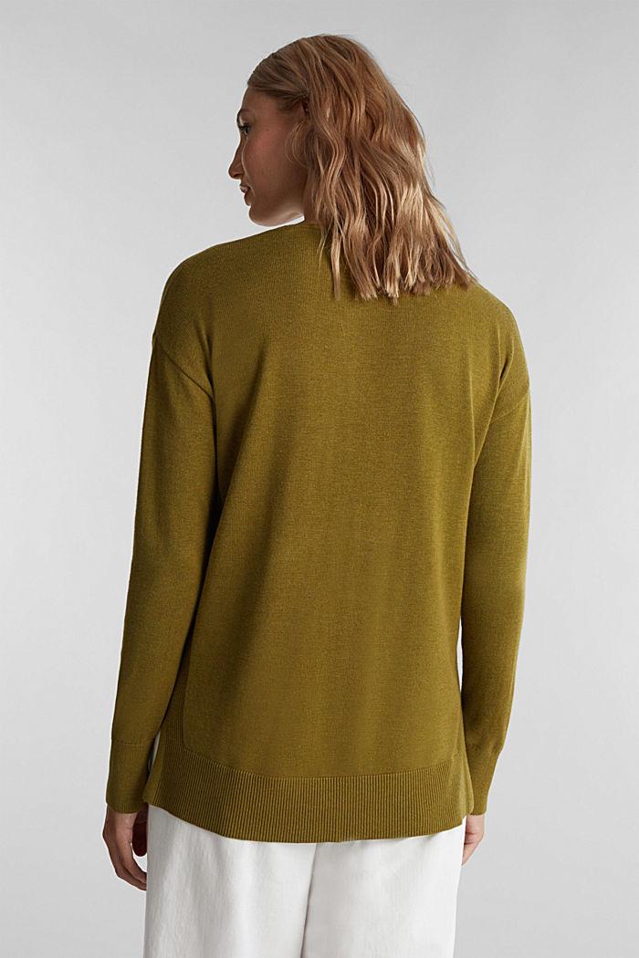 V-neck jumper containing organic cotton, OLIVE, detail image number 3