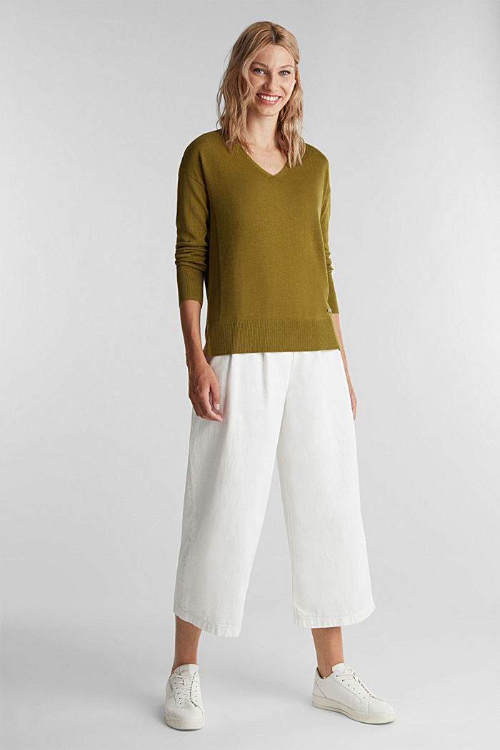 V-neck jumper containing organic cotton, OLIVE, detail image number 1