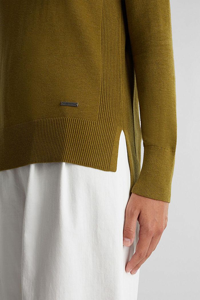 V-neck jumper containing organic cotton, OLIVE, detail image number 2