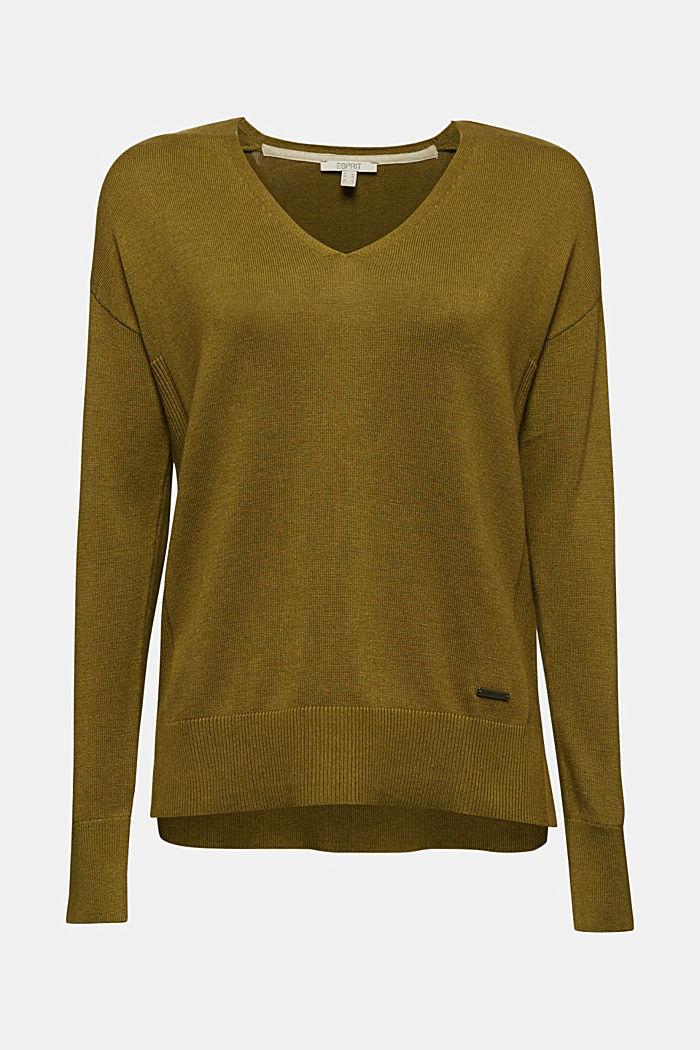 V-neck jumper containing organic cotton, OLIVE, detail image number 5