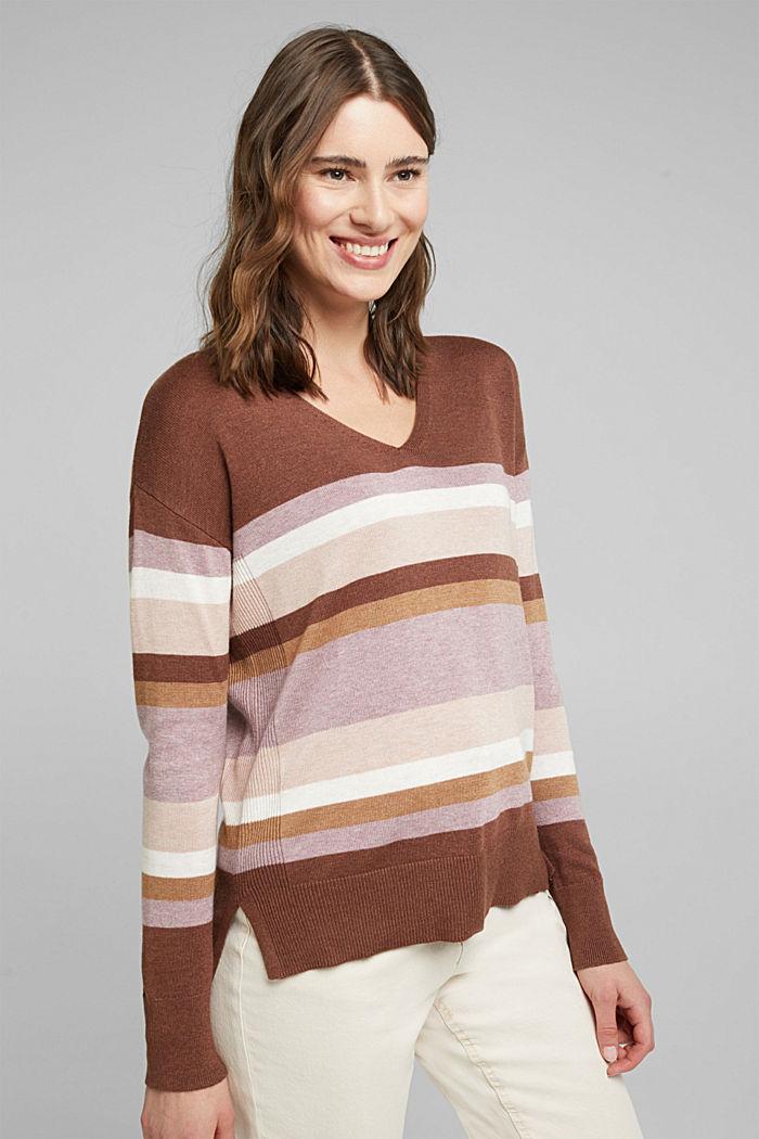 V-neck jumper containing organic cotton, MAUVE, detail image number 0