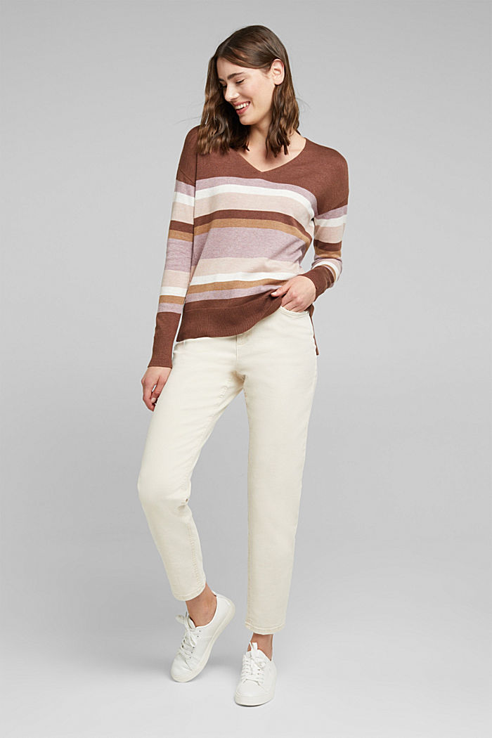 V-neck jumper containing organic cotton, MAUVE, detail image number 1
