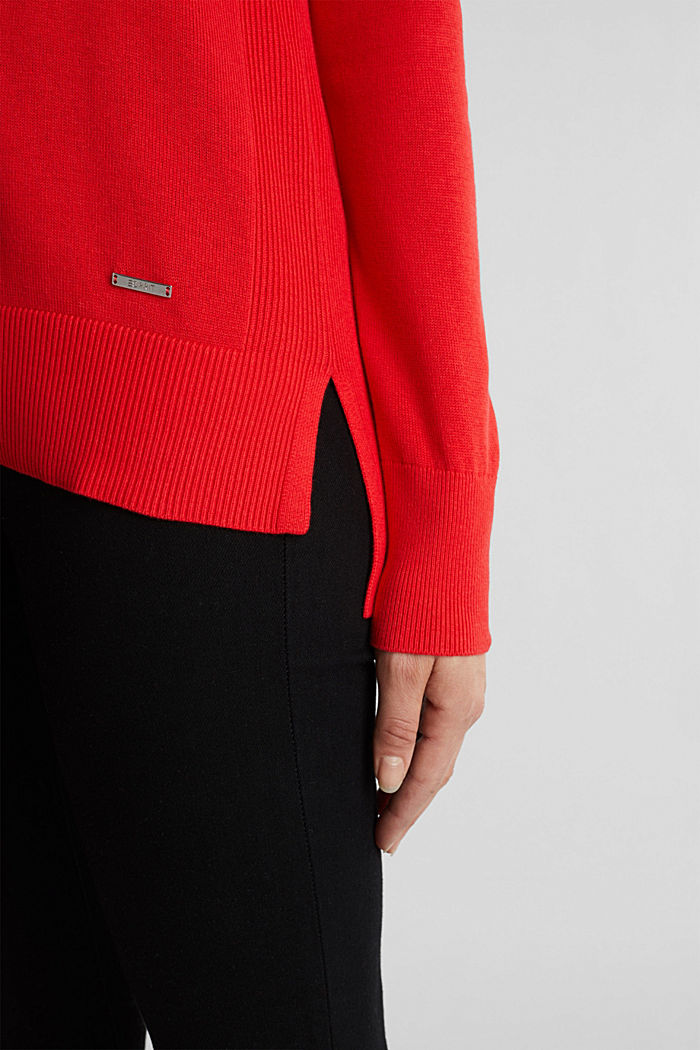 V-neck jumper containing organic cotton, RED, detail image number 2