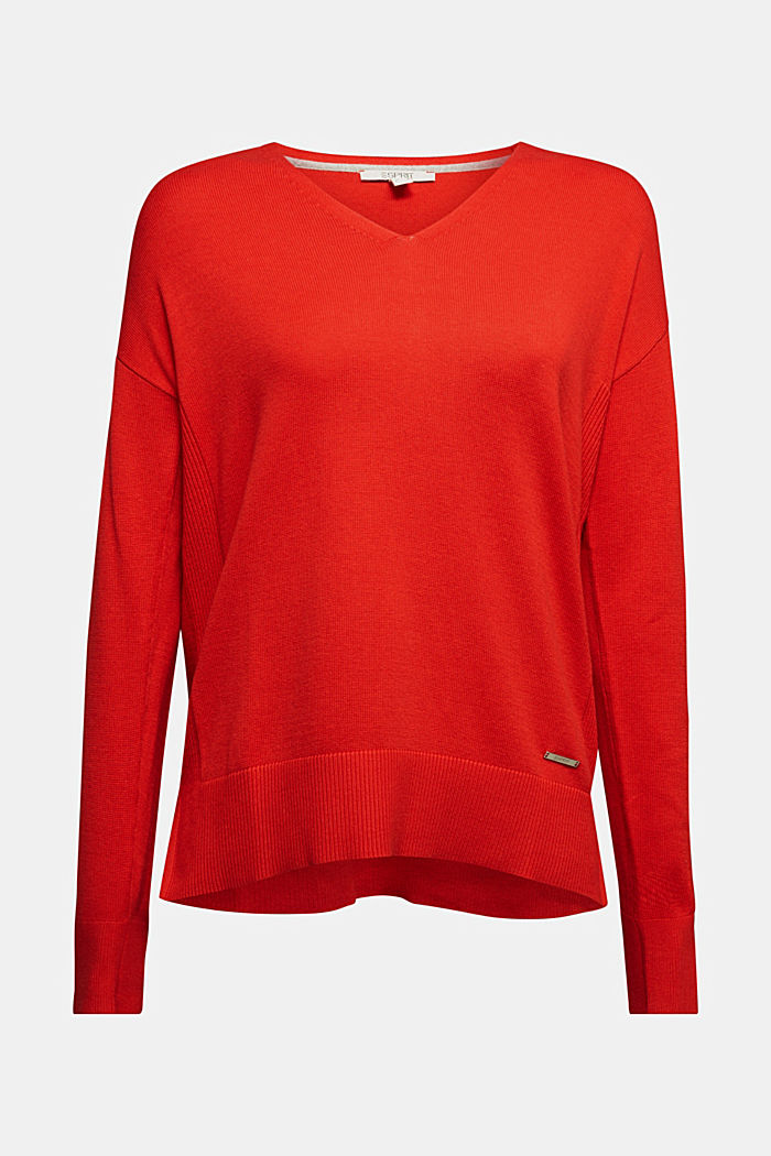 V-neck jumper containing organic cotton, RED, detail image number 5