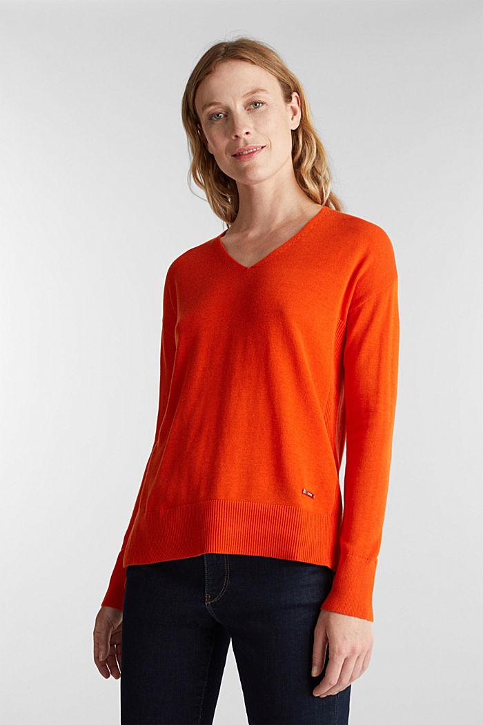 V-neck jumper containing organic cotton, RUST ORANGE, detail image number 0