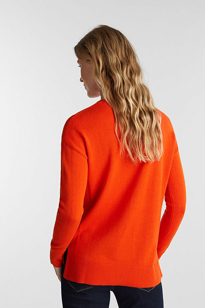 V-neck jumper containing organic cotton, RUST ORANGE, detail image number 3
