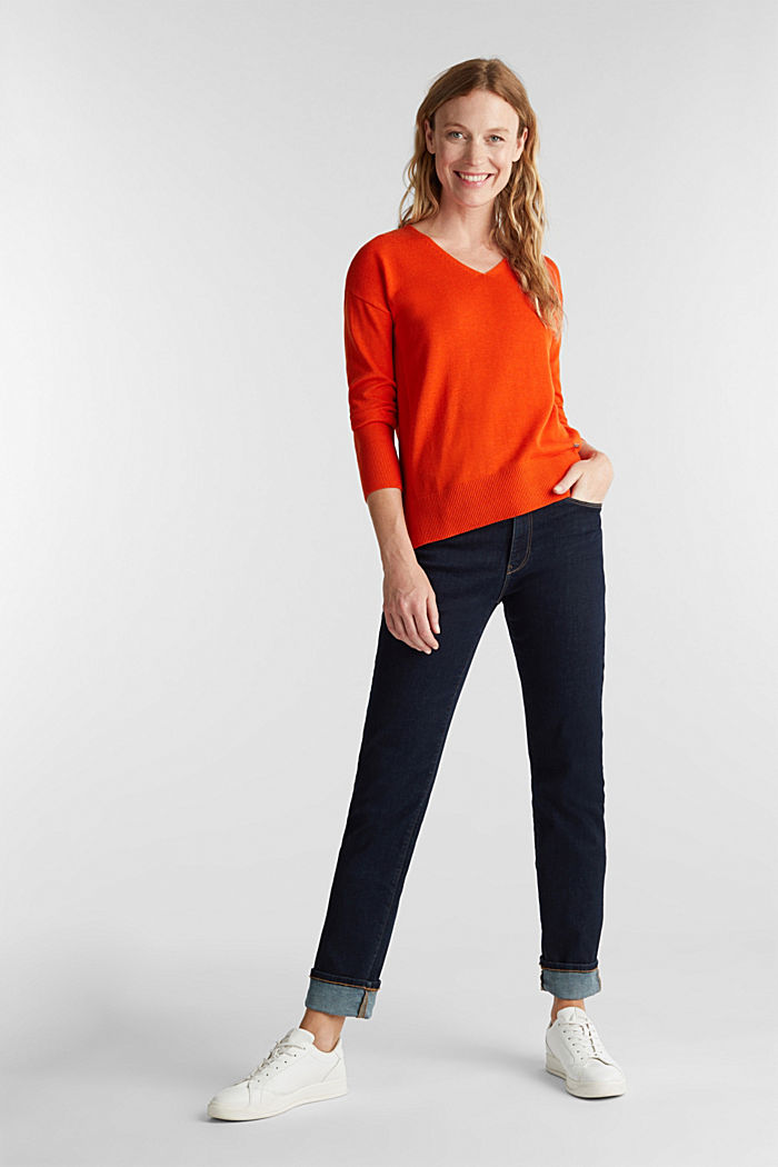 V-neck jumper containing organic cotton, RUST ORANGE, detail image number 1