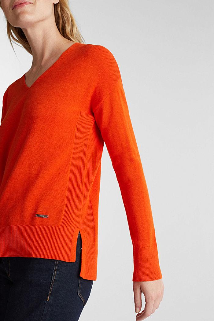V-neck jumper containing organic cotton, RUST ORANGE, detail image number 2