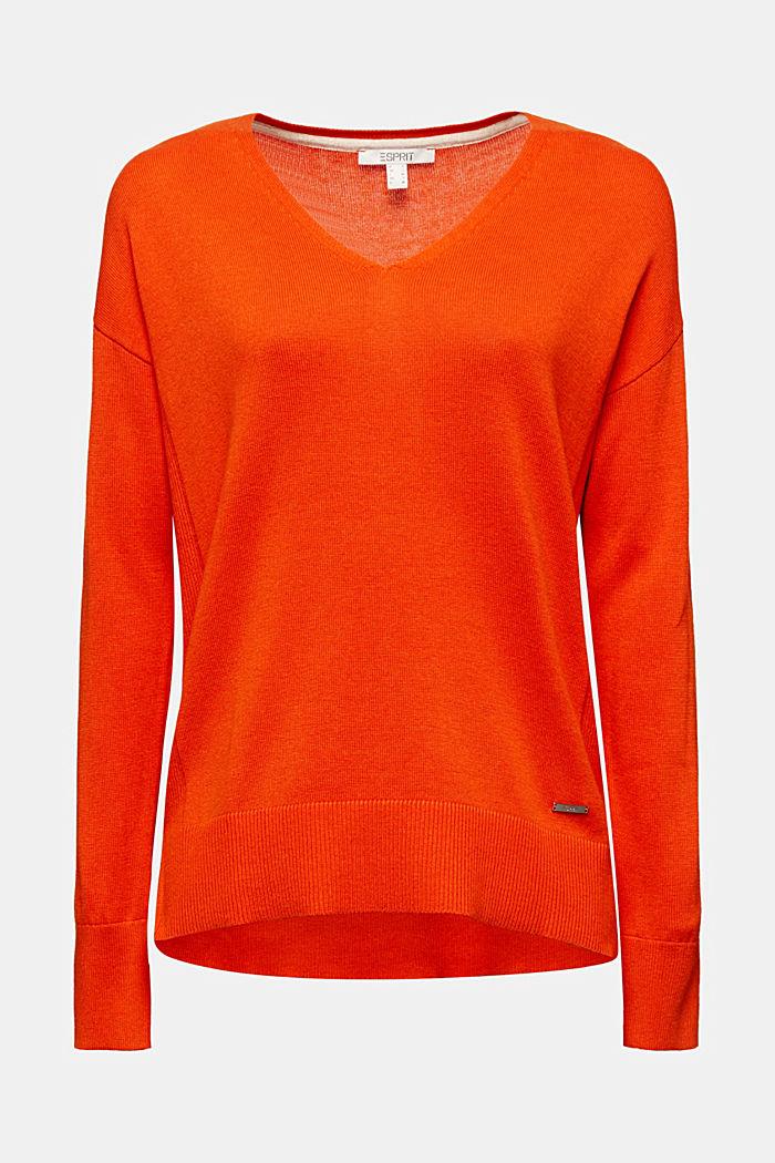 V-neck jumper containing organic cotton, RUST ORANGE, detail image number 5