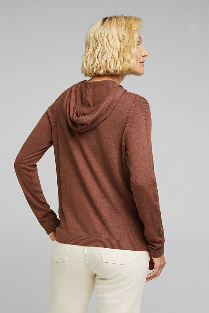 Knitted hoodie with organic cotton, BROWN, detail image number 3