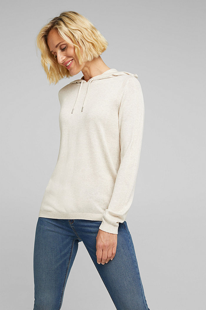 Knitted hoodie with organic cotton, SAND, detail image number 0