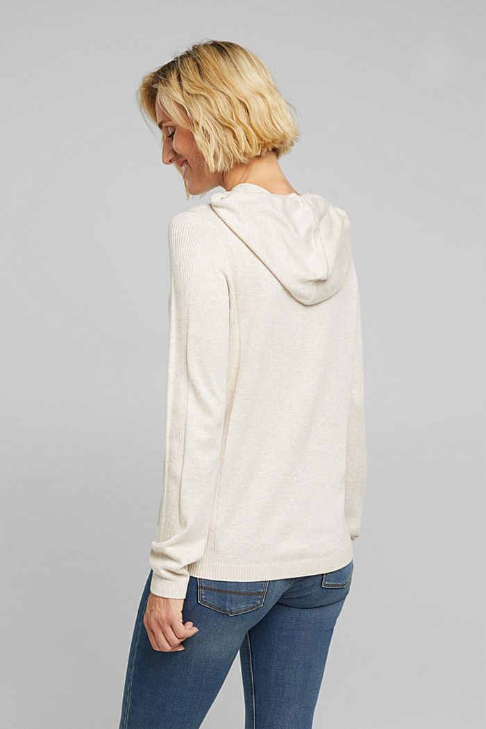 Knitted hoodie with organic cotton, SAND, detail image number 3