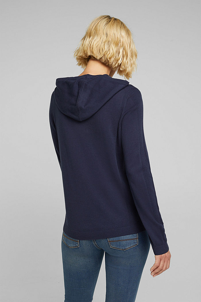 Knitted hoodie with organic cotton, NAVY, detail image number 2