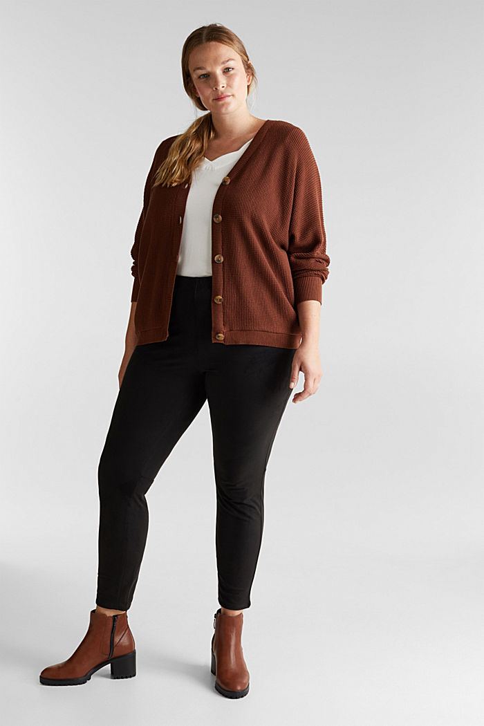 Cardigan with organic cotton, BROWN, detail image number 1