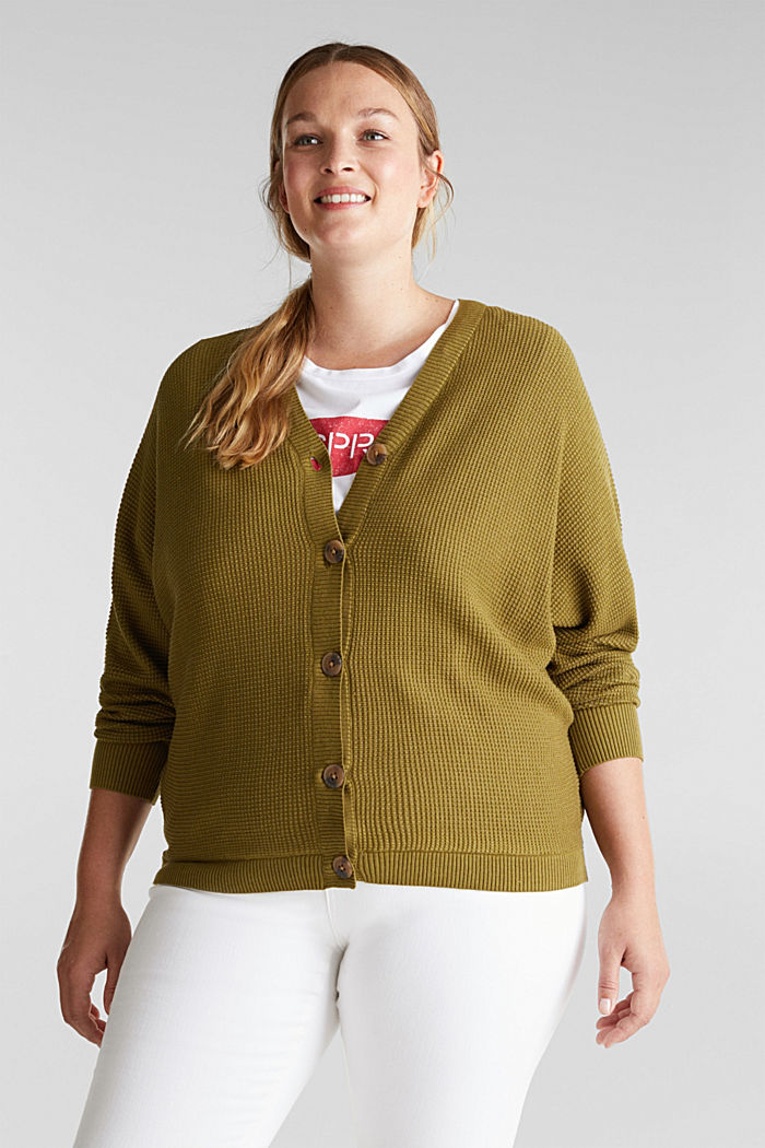 Cardigan with organic cotton, OLIVE, detail image number 0