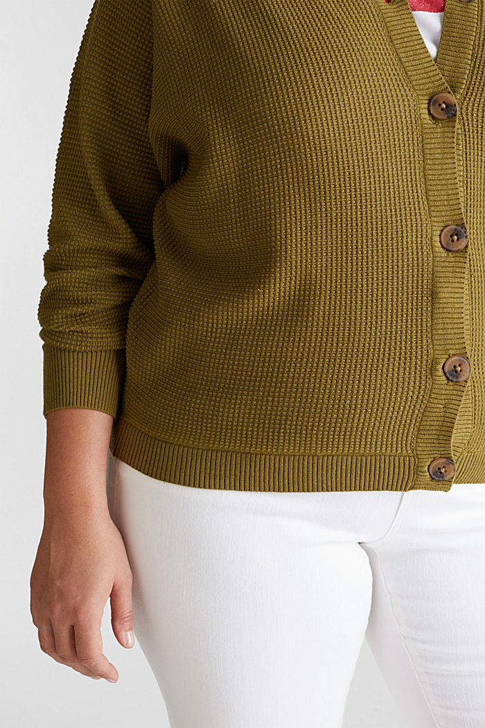 Cardigan with organic cotton, OLIVE, detail image number 2