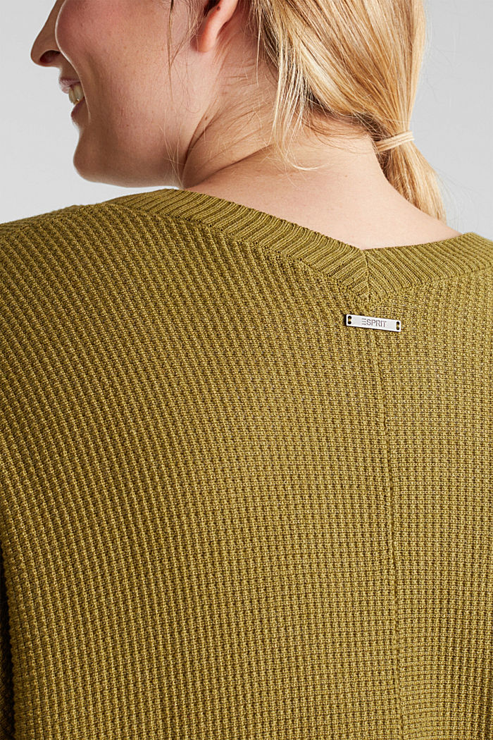 Cardigan with organic cotton, OLIVE, detail image number 5