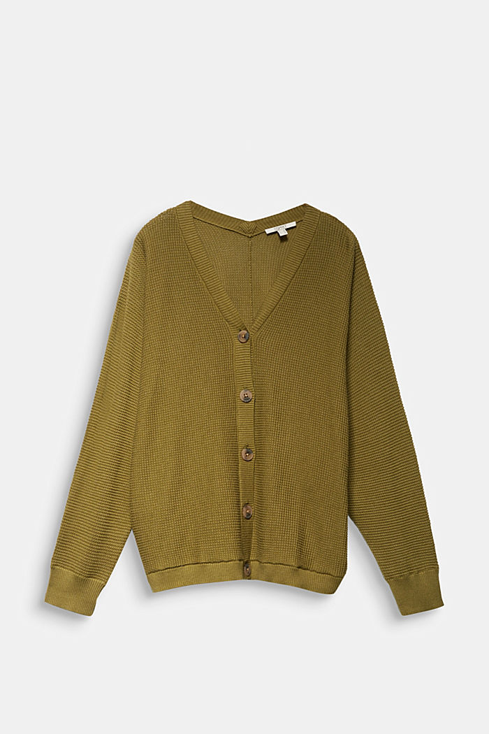 Cardigan with organic cotton, OLIVE, overview