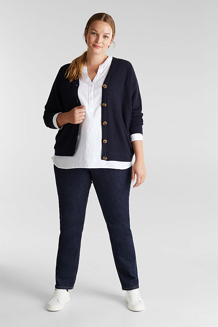Cardigan with organic cotton, NAVY, detail image number 1