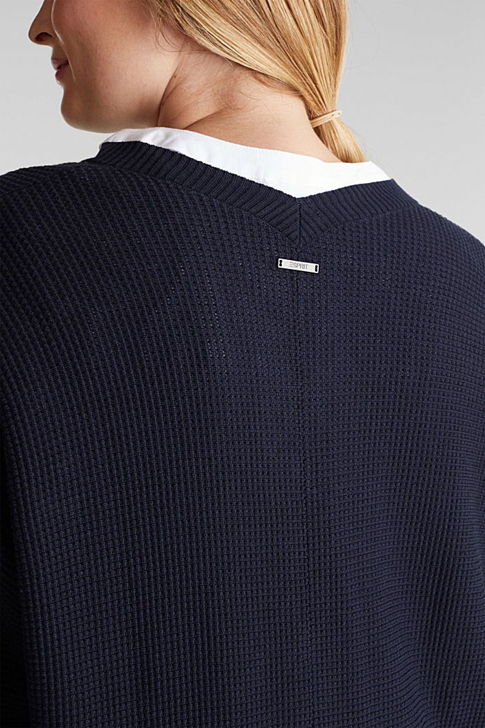 Cardigan with organic cotton, NAVY, detail image number 5