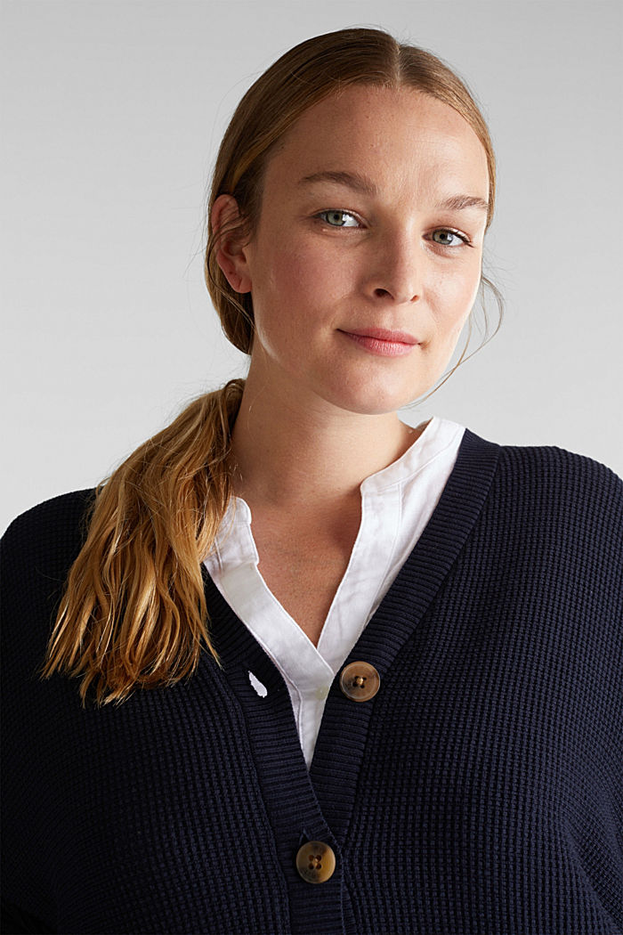 Cardigan with organic cotton, NAVY, detail image number 6