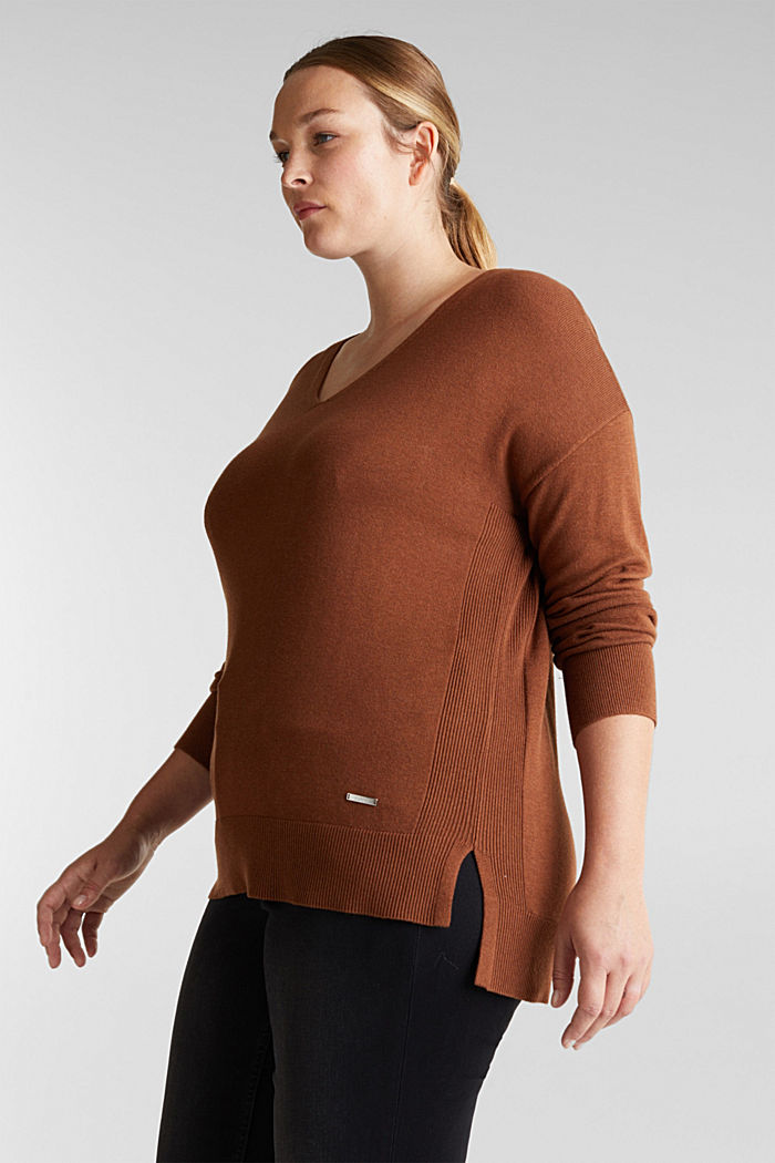 CURVY jumper with organic cotton, TOFFEE, detail image number 5