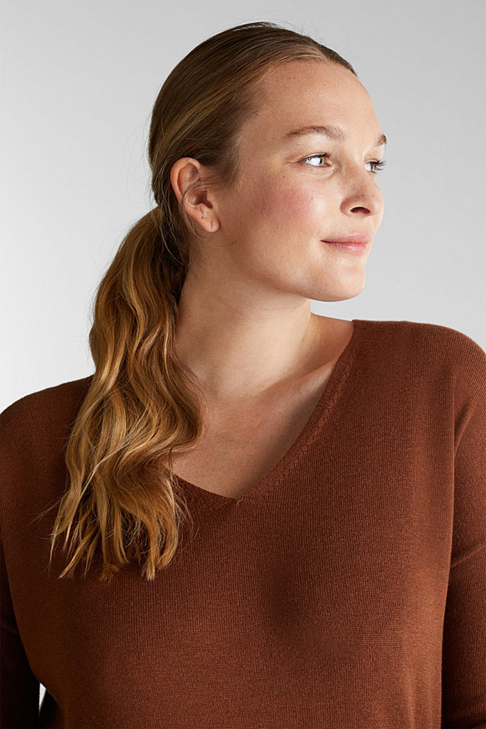 CURVY jumper with organic cotton, TOFFEE, detail image number 6