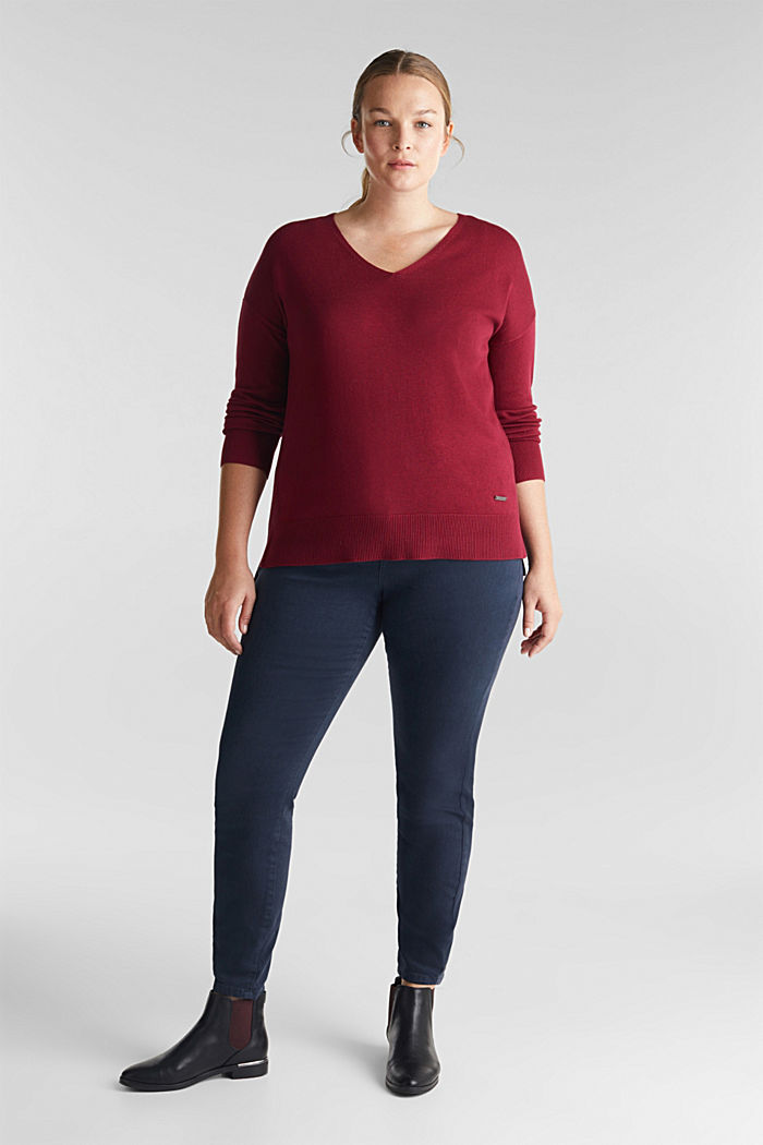 CURVY jumper with organic cotton, BORDEAUX RED, detail image number 1