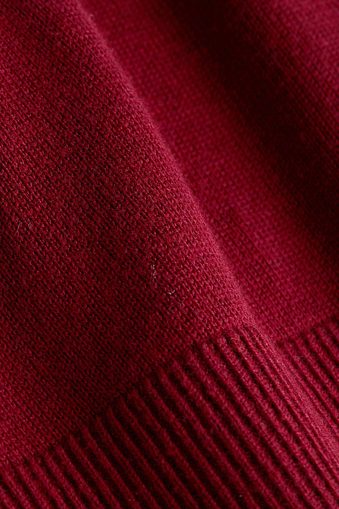 CURVY jumper with organic cotton, BORDEAUX RED, detail image number 4