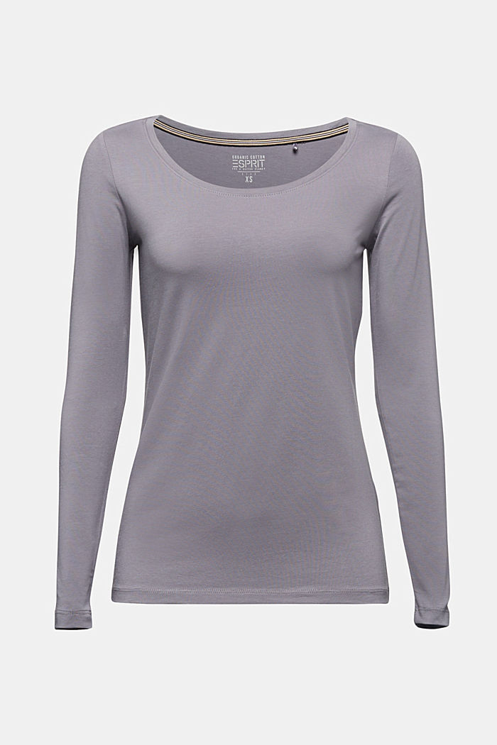 Long sleeve top with organic cotton, GUNMETAL, detail image number 6