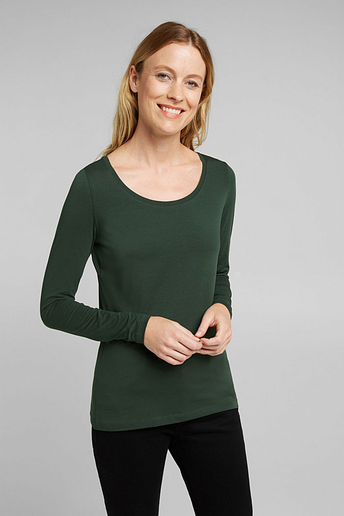 Long sleeve top with organic cotton, DARK GREEN, detail image number 0