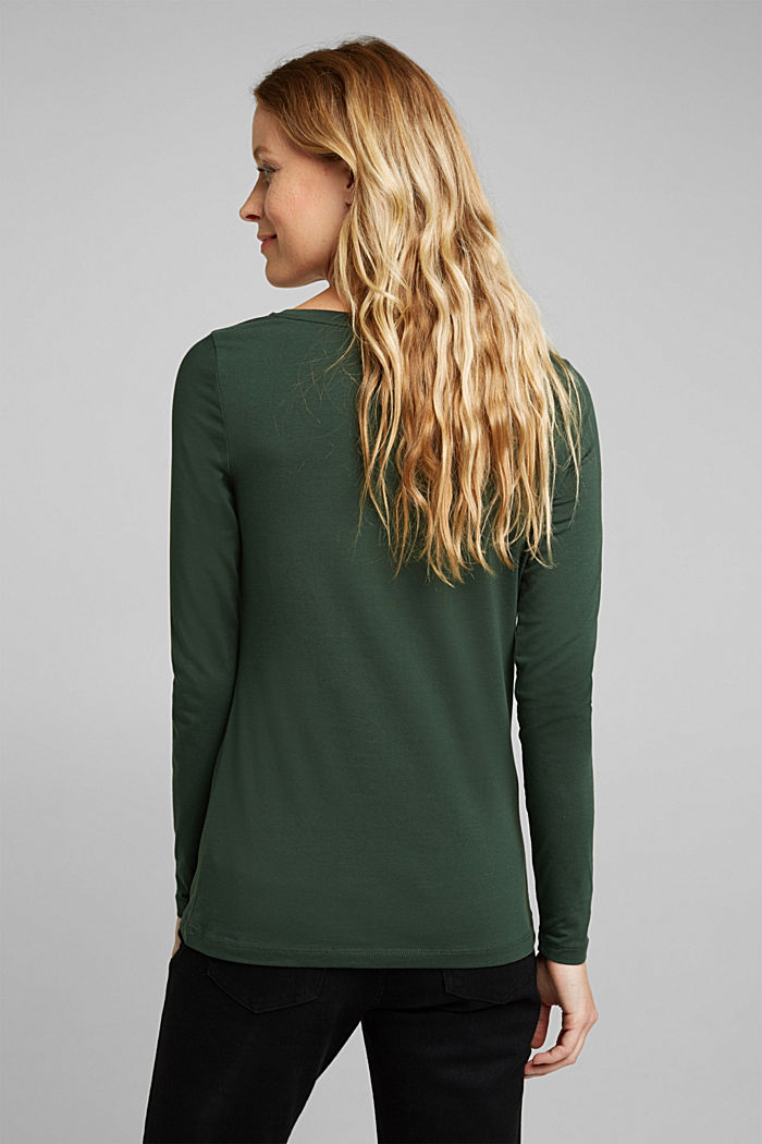 Long sleeve top with organic cotton, DARK GREEN, detail image number 3