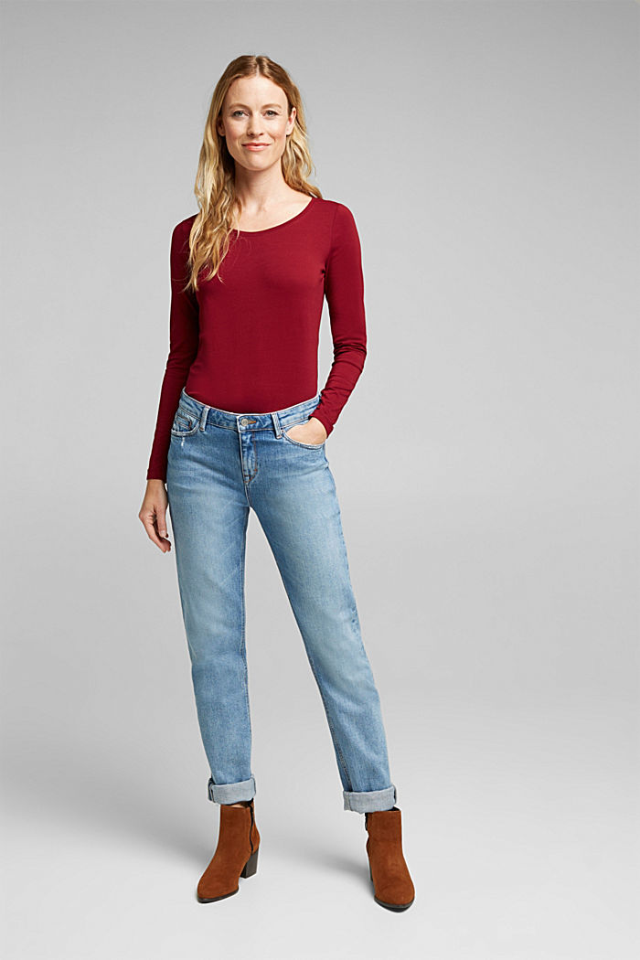 Long sleeve top with organic cotton, BORDEAUX RED, detail image number 1