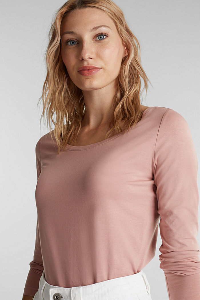 Long sleeve top with organic cotton, OLD PINK, detail image number 0