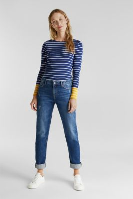 Striped long sleeve top with organic cotton, DARK BLUE, detail