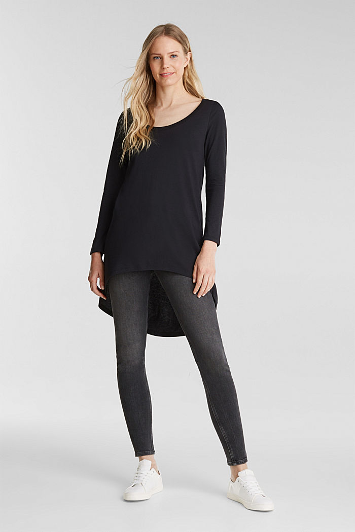 Long top with organic cotton, BLACK, detail image number 1