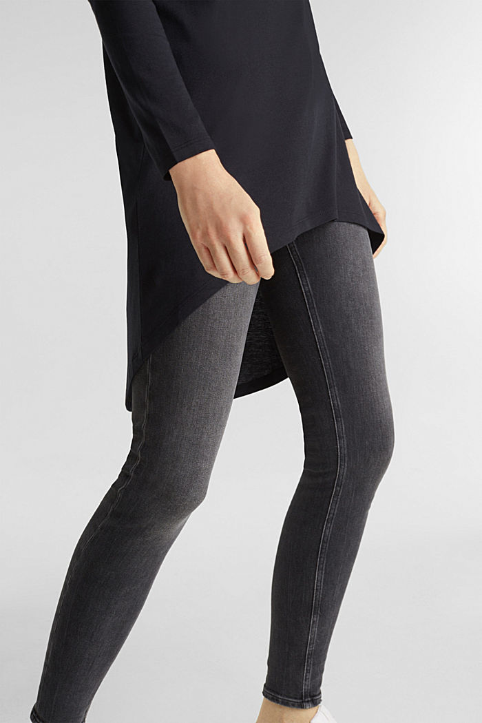 Long top with organic cotton, BLACK, detail image number 2