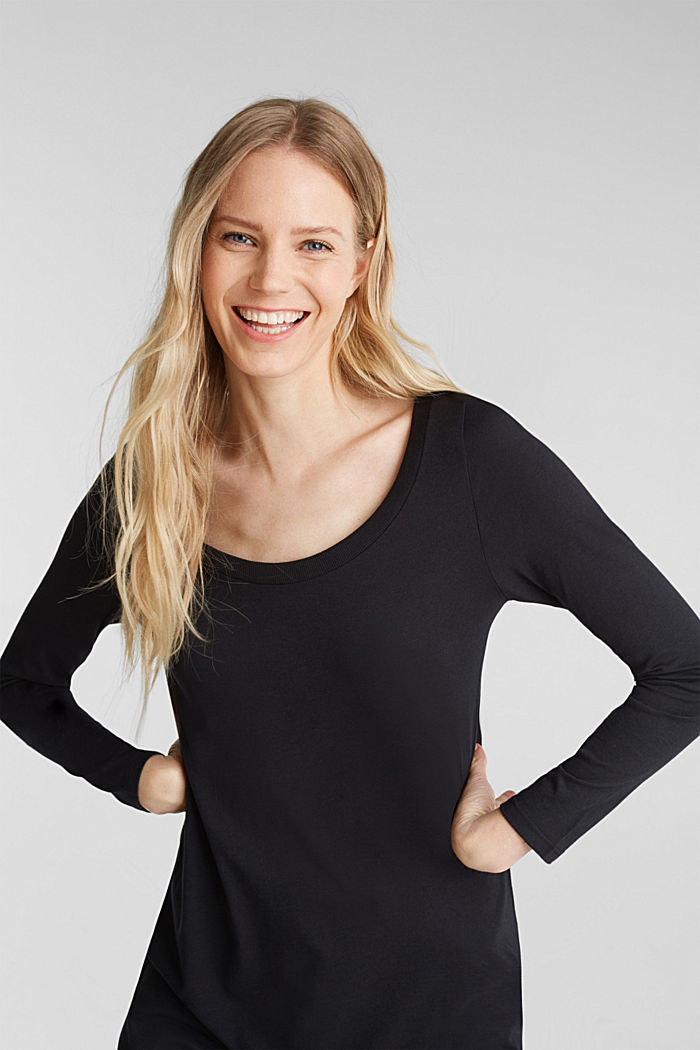 Long top with organic cotton, BLACK, detail image number 5