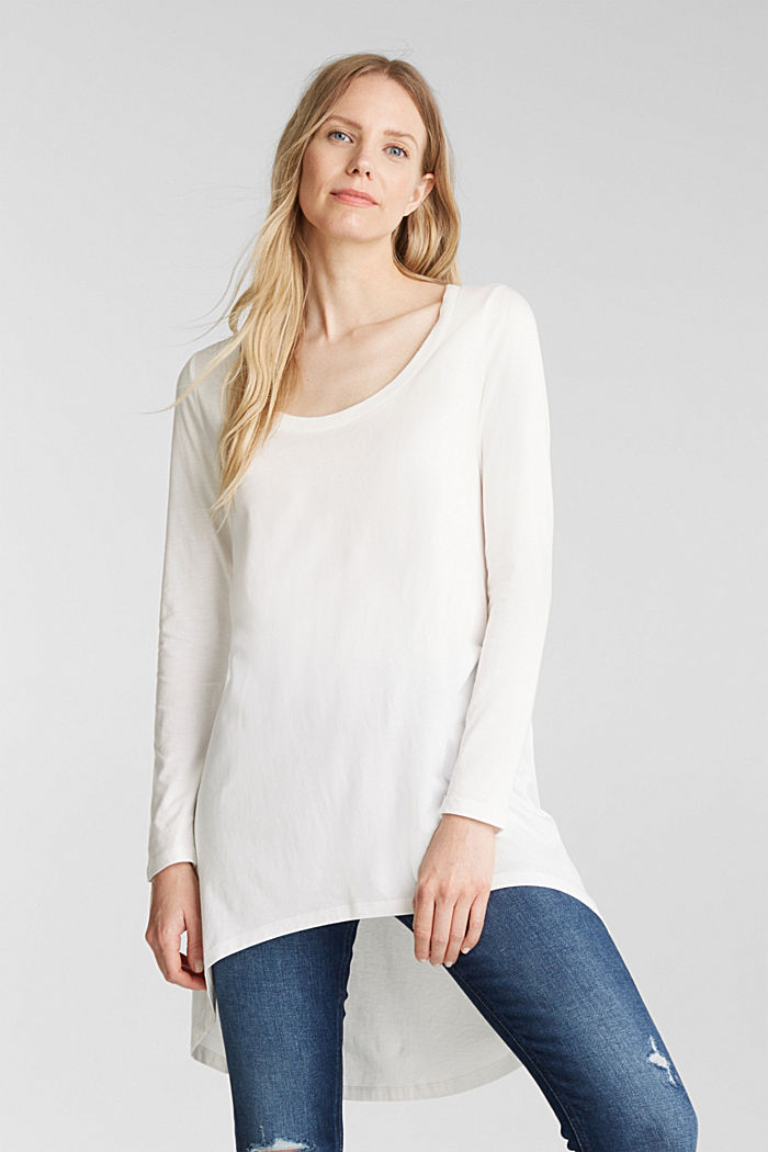 Long top with organic cotton, OFF WHITE, detail image number 0