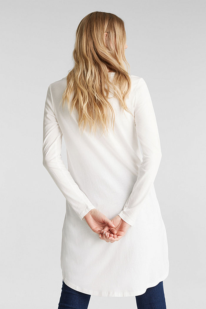 Long top with organic cotton, OFF WHITE, detail image number 3