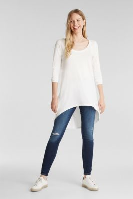 Long top with organic cotton, OFF WHITE, detail