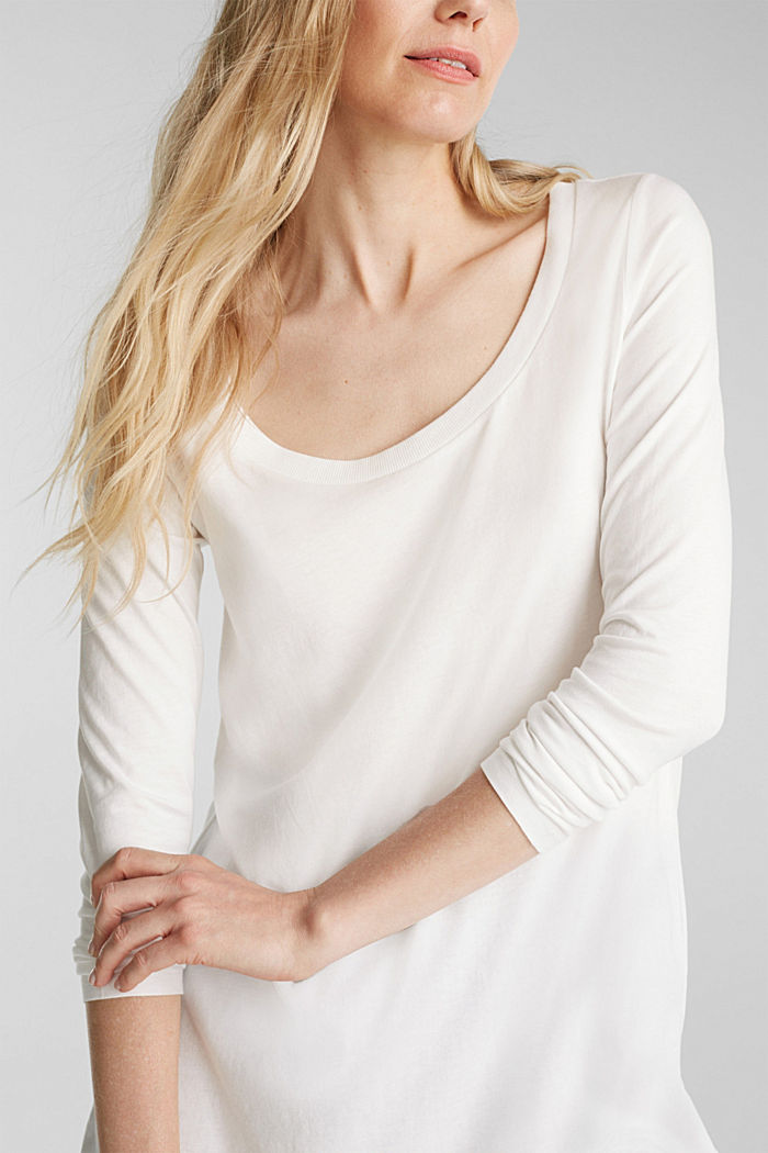 Long top with organic cotton, OFF WHITE, detail image number 2