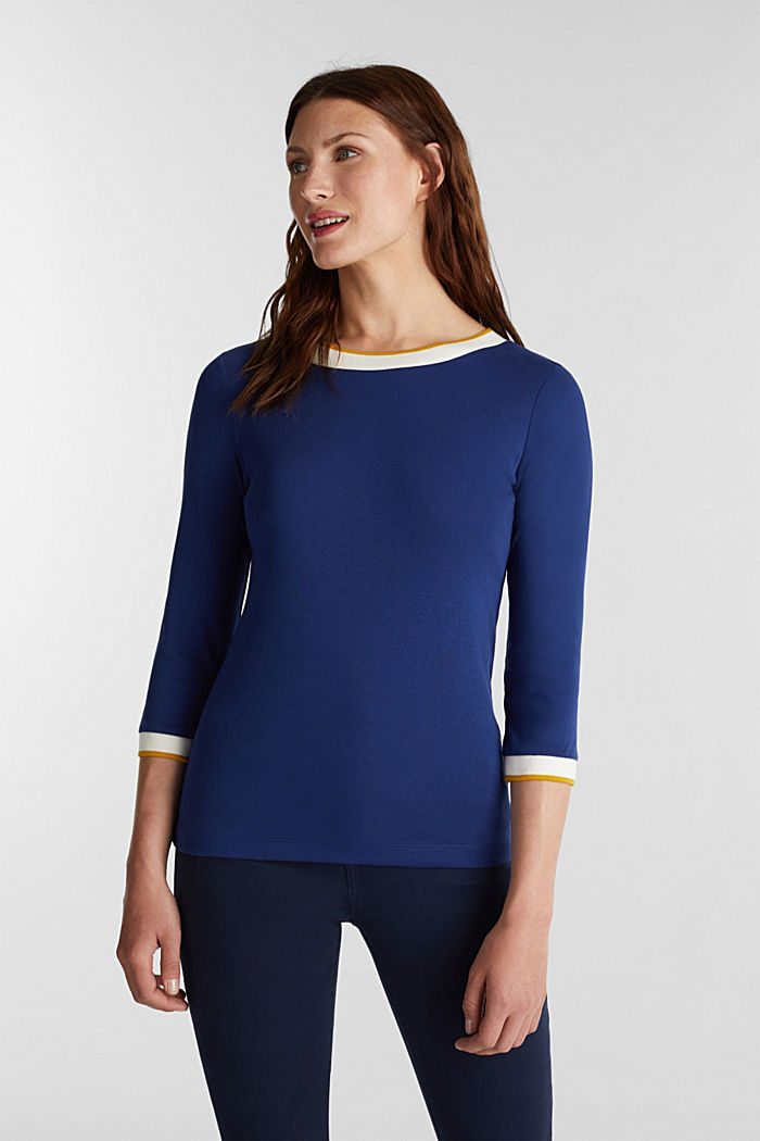 Jersey top made of 100% organic cotton, DARK BLUE, detail image number 0