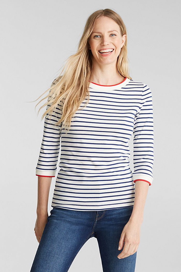 Striped top made of 100% organic cotton, OFF WHITE, detail image number 0