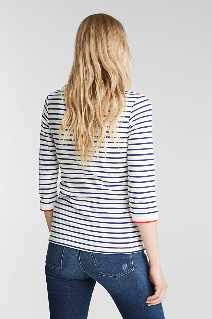 Striped top made of 100% organic cotton, OFF WHITE, detail image number 3