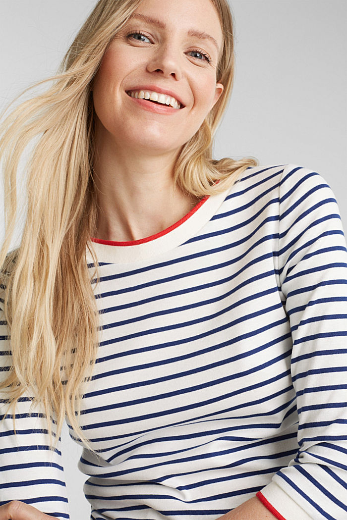 Striped top made of 100% organic cotton, OFF WHITE, detail image number 5